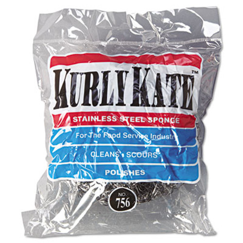 Kurly Kate Stainless Steel Scrubbers  Large  Steel Gray  12 Scrubbers Bag  6 Bags Carton (PUR 756)