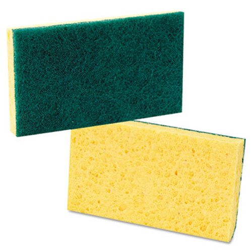 Boardwalk Scrubbing Sponge  Medium Duty  3 6 x 6 1  0 75  Thick  Yellow Green  Individually Wrapped  20 Carton (PAD 174)