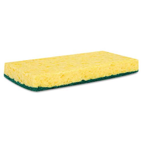 Boardwalk Scrubbing Sponge  Medium Duty  3 6 x 6 1  0 75  Thick  Yellow Green  Individually Wrapped  20 Carton (PAD 174)