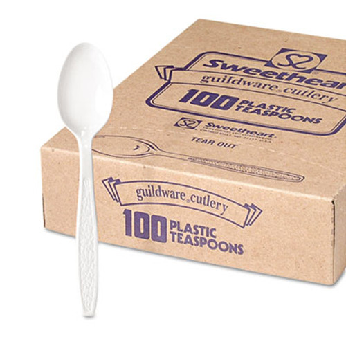 Dart Guildware Heavyweight Plastic Teaspoons  White  100 Box  10 Boxes Carton (SCC GBX7TW)