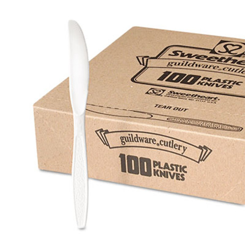 Dart Guildware Heavyweight Plastic Knives  White  100 Box  10 Boxes Carton (SCC GBX6KW)