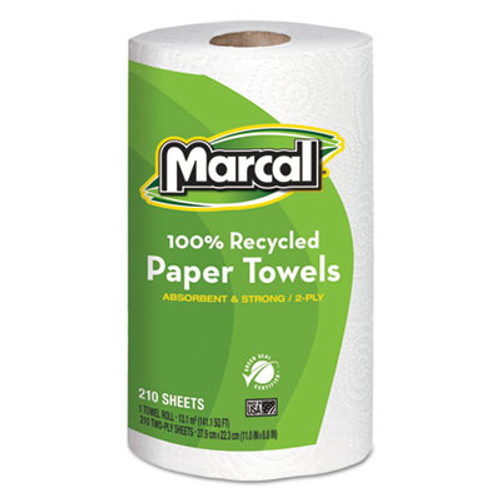 Marcal 100  Recycled Roll Towels  2-Ply  8 8 x 11  210 Sheets  12 Rolls Carton (MAC 6210)