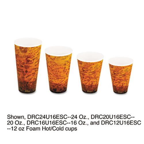 Dart Foam Hot Cold Cups  20oz  Brown Black  500 Carton (DCC 20U16ESC)