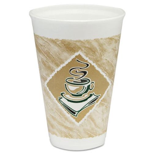 Dart Café G Foam Hot/Cold Cups, 16oz, White w/Brown & Green, 1000/Carton (DCC 16X16G)