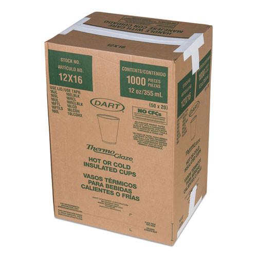 Dart Caf    G Foam Hot Cold Cups  12oz  White w Brown   Red  1000 Carton (DCC 12X16G)