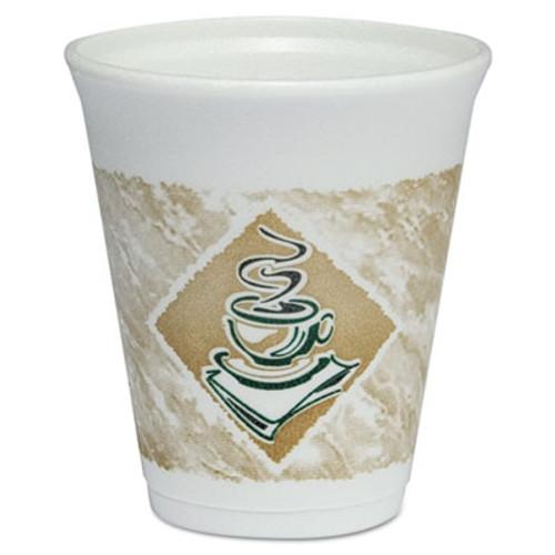 Dart Café G Foam Hot/Cold Cups, 8oz, White w/Brown & Green, 1000/Carton (DCC 8X8G)