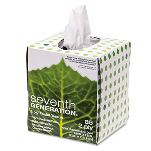 Seventh Generation 100  Recycled Facial Tissue  2-Ply  White  85 Sheets Box (SEV13719EA)