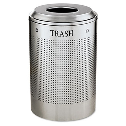 Rubbermaid Commercial Silhouette Waste Receptacle  Round  Steel  26 gal  Silver Metallic (RCP DRR24TSM)