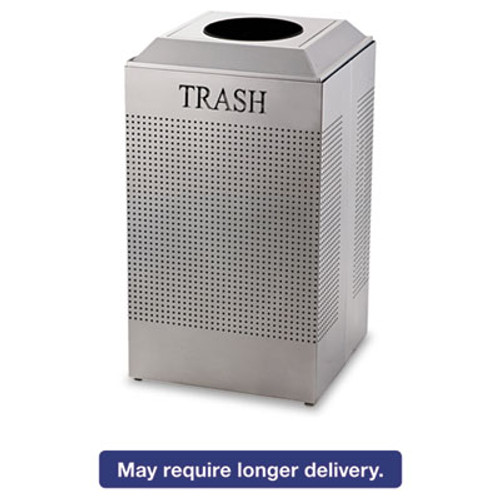 Rubbermaid Commercial Silhouette Waste Receptacle  Square  Steel  29 gal  Silver Metallic (RCP DCR24TSM)