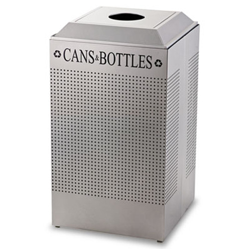 Rubbermaid Commercial Silhouette Can Bottle Recycling Receptacle  Square  Steel  29 gal  Silver (RCP DCR24CSM)