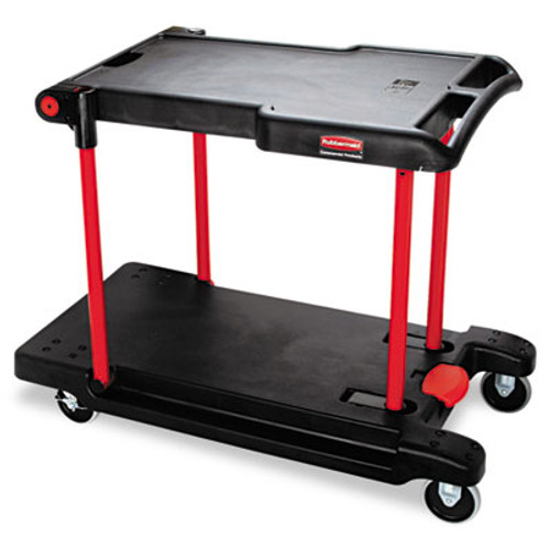 Rubbermaid Commercial Convertible Utility Cart  Two-Shelf  23 88w x 45 13d x 34 38h  Black (RCP 4300 BLA)