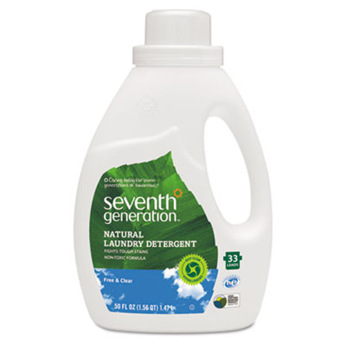 Seventh Generation Natural 2X Concentrate Liquid Laundry Detergent  Free and Clear  33 loads  50 oz (SEV22769EA)