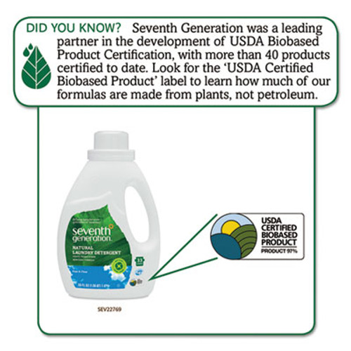 Seventh Generation Natural 2X Concentrate Liquid Laundry Detergent, Free & Clear, 33 loads, 50 oz (SEV22769EA)