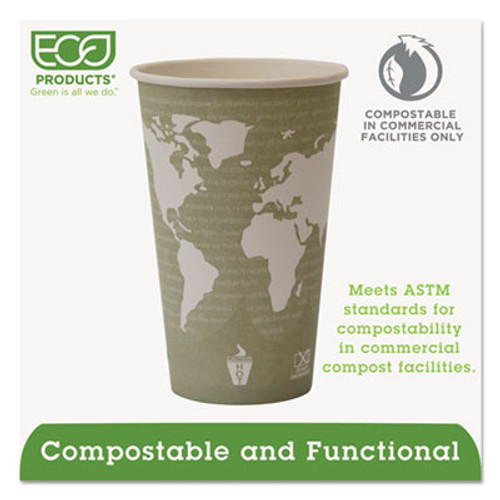 Eco-Products World Art Renewable Compostable Hot Cups  16 oz   50 PK  20 PK CT (ECP EP-BHC16-WA)