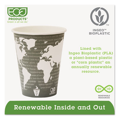 Eco-Products World Art Renewable Compostable Hot Cups, 12 oz., 50/PK, 20 PK/CT (ECP EP-BHC12-WA)