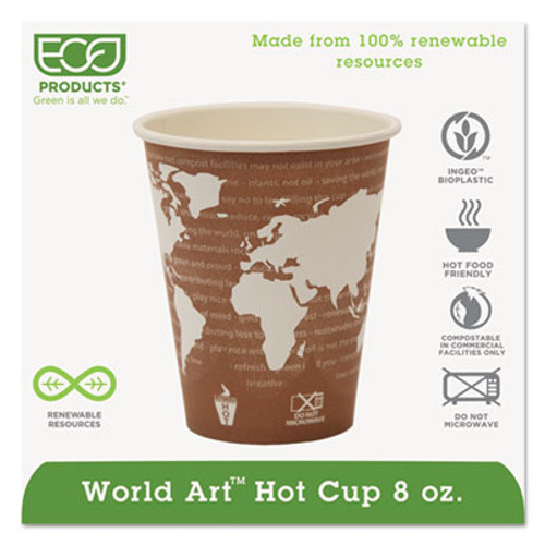 Eco-Products World Art Renewable Compostable Hot Cups, 8 oz., 50/PK, 20 PK/CT (ECP EP-BHC8-WA)
