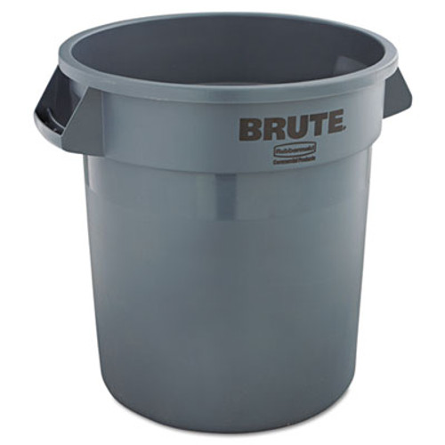 Rubbermaid Commercial Round Brute Container, Plastic, 10 gal, Gray (RCP 2610 GRA)