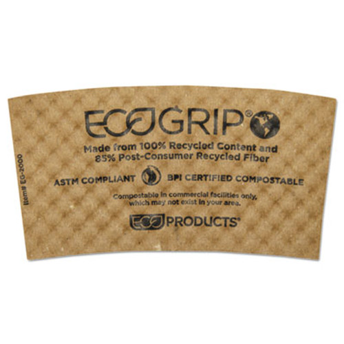 Eco-Products EcoGrip Hot Cup Sleeves - Renewable   Compostable  1300 CT (ECP EG-2000)