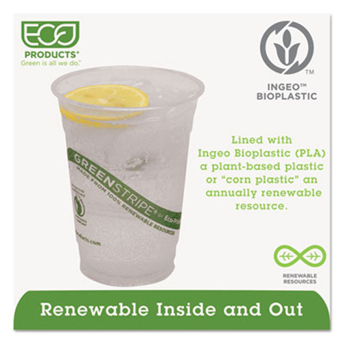 Eco-Products GreenStripe Renewable & Compostable Cold Cups - 16oz., 50/PK, 20 PK/CT (ECP EP-CC16-GS)