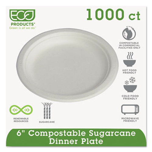 Eco-Products Renewable   Compostable Sugarcane Plates Convenience Pack  6   50 PK  20 PK CT (ECP EP-P016)