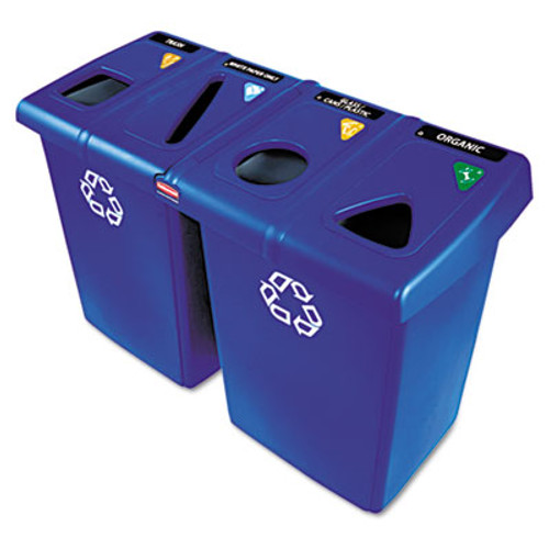 Rubbermaid Commercial Glutton Recycling Station, Four-Stream, 92 gal, Blue (RCP 1792372)