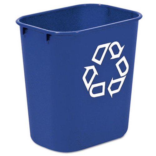 Rubbermaid Commercial Small Deskside Recycling Container, Rectangular, Plastic, 13.625qt, Blue (RCP 2955-73 BLU)