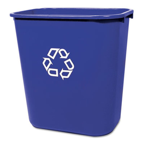 Rubbermaid Commercial Medium Deskside Recycling Container, Rectangular, Plastic, 28.125qt, Blue (RCP 2956-73 BLU)