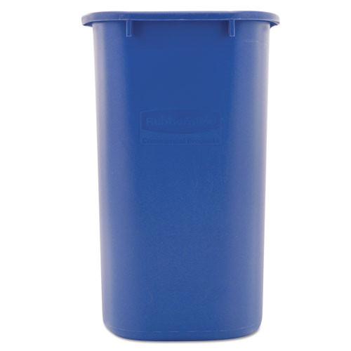 Rubbermaid Commercial Medium Deskside Recycling Container  Rectangular  Plastic  28 13 qt  Blue (RCP 2956-73 BLU)