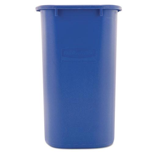 Rubbermaid Commercial Medium Deskside Recycling Container  Rectangular  Plastic  28 13 qt  Blue (RCP 2956-73 BLU)