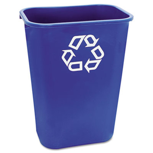 Rubbermaid Commercial Large Deskside Recycle Container w/Symbol, Rectangular, Plastic, 41.25qt, Blue (RCP 2957-73 BLU)