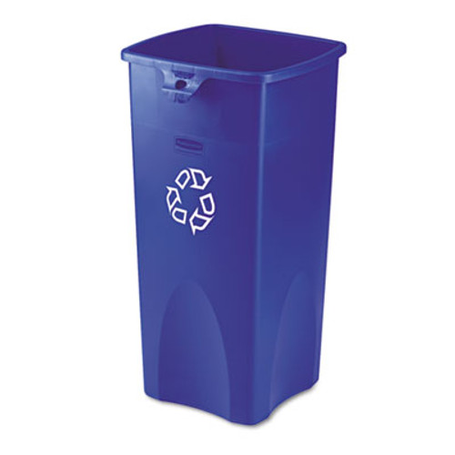 Rubbermaid Commercial Recycled Untouchable Square Recycling Container  Plastic  23 gal  Blue (RCP 3569-73 BLU)