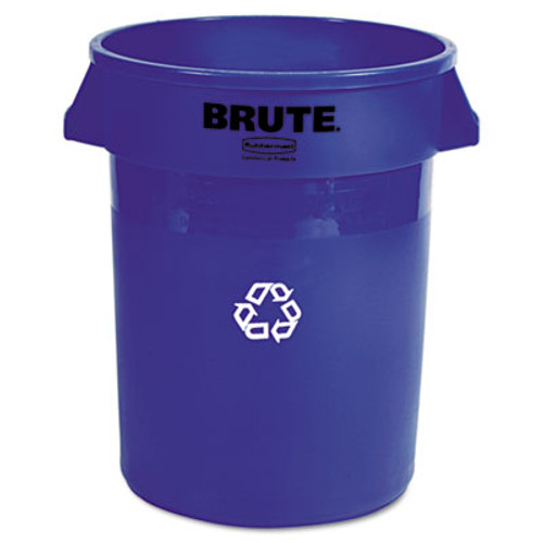 Rubbermaid Commercial Brute Recycling Container, Round, 32 gal, Blue (RCP 2632-73 BLU)