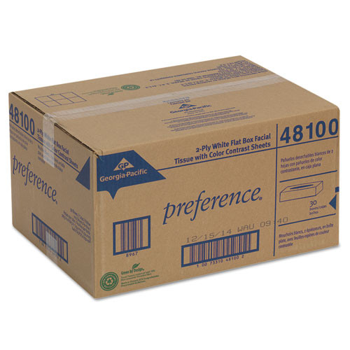 Georgia Pacific Professional Facial Tissue  2-Ply  White  Flat Box  100 Sheets Box  30 Boxes Carton (GPC 481)