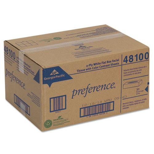 Georgia Pacific Professional Facial Tissue  2-Ply  White  Flat Box  100 Sheets Box  30 Boxes Carton (GPC 481)