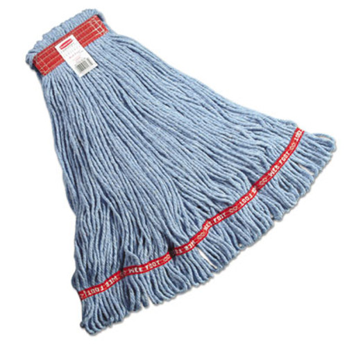 Rubbermaid Commercial Web Foot Looped-End Wet Mop Head, Cotton/Synthetic, Large Size, Blue, 6/Carton (RCP A113 BLU)