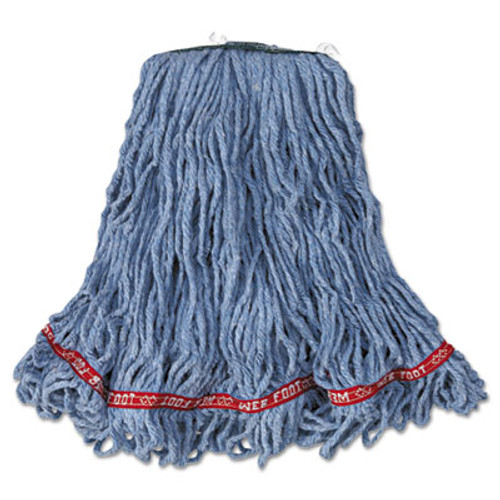 Rubbermaid Commercial Web Foot Looped-End Wet Mop Head  Cotton Synthetic  Medium Size  Blue  6 Carton (RCP A112 BLU)
