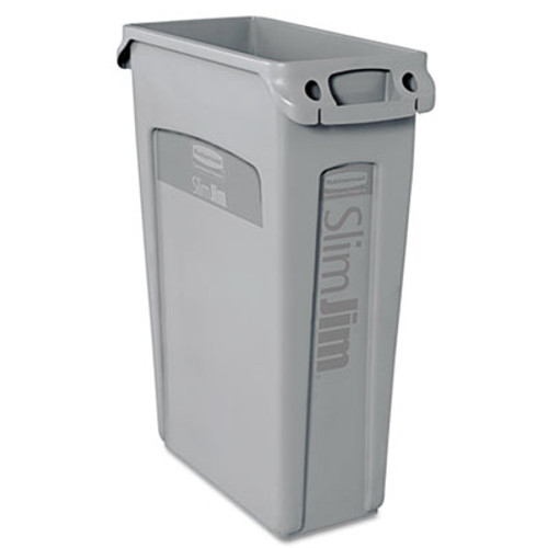 Rubbermaid Commercial Slim Jim Receptacle with Venting Channels  Rectangular  Plastic  23 gal  Gray (RCP 3540-60 GRA)