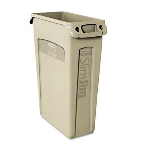 Rubbermaid Commercial Slim Jim Receptacle w/Venting Channels, Rectangular, Plastic, 23gal, Beige (RCP 3540-60 BEI)