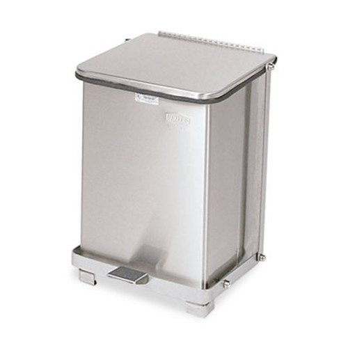 Rubbermaid Commercial Defenders Biohazard Step Can  Square  Steel  7 gal  Stainless Steel (RCP ST7SSPL)