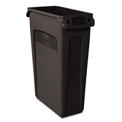 Rubbermaid Commercial Slim Jim Receptacle w/Venting Channels, Rectangular, Plastic, 23gal, Black (RCP 3540-60 BLA)