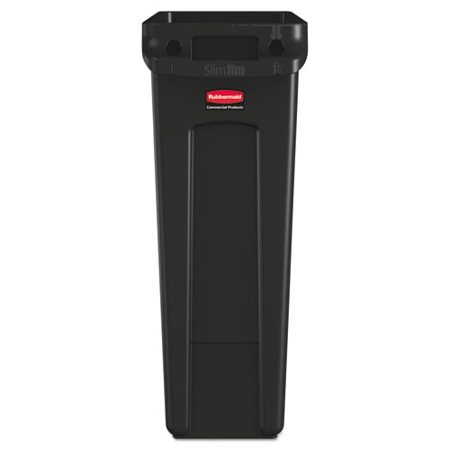 Rubbermaid Commercial Slim Jim Receptacle with Venting Channels  Rectangular  Plastic  23 gal  Black (RCP 3540-60 BLA)