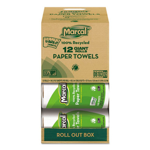 Marcal 100  Recycled Roll Towels  2-Ply  5 1 2 x 11  140 Sheets  12 Rolls Carton (MAC 6183)