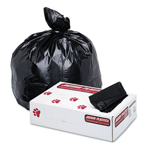 Jaguar Plastics Industrial Strength Low-Density Commercial Can Liners  60 gal  1 7 mil  38  x 58   Black  100 Carton (JAG G3858HBL)