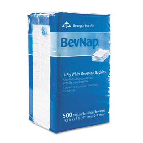 Georgia Pacific Professional Beverage Napkins, Single-Ply, 9 1/2 x 9 1/2, White, 4000/Carton (GPC 960-19)