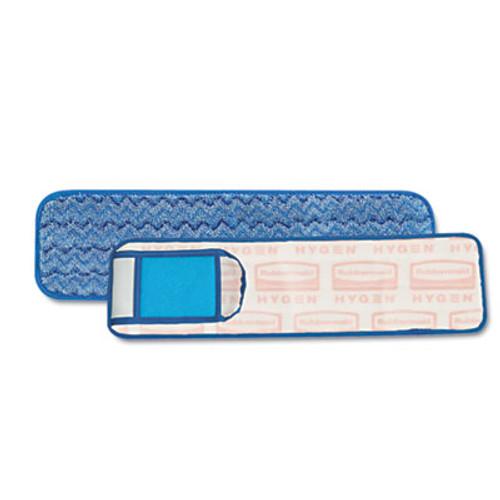 Rubbermaid Commercial HYGEN HYGEN Wet Pad w Scrubber  Nylon Polyester Microfiber  18  Long  Blue (RCP Q415)
