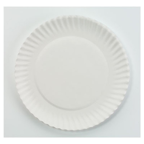 "AJM Packaging Corporation White Paper Plates, 6"" dia, 100/Bag, 10 Bags/Carton (AJMPP6GREWH)"