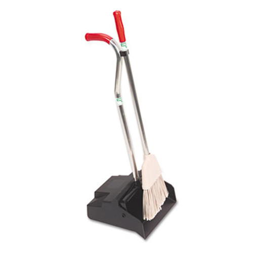 Unger Ergo Dustpan With Broom  12 Wide  Metal w Vinyl Coated Handle  Red Silver (UNG EDPBR)