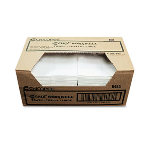 Chicopee Durawipe Shop Towels  13 x 15  Flat  White  300 Carton (CHI 8483)