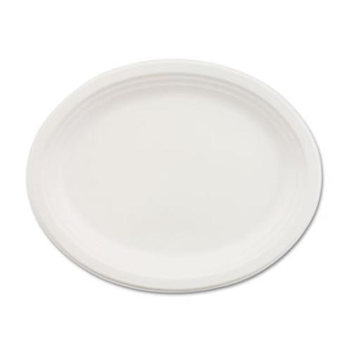 Chinet Classic Paper Dinnerware, Oval Platter, 9 3/4 x 12 1/2, White, 500/Carton (HUH VESPER)