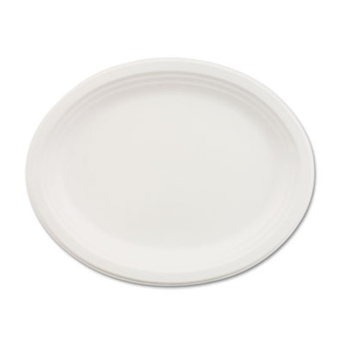 Chinet Classic Paper Dinnerware  Oval Platter  9 3 4 x 12 1 2  White  500 Carton (HUH VESPER)